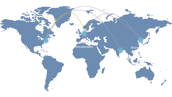 A graphic shows the Philips Ventures team hubs around the world.